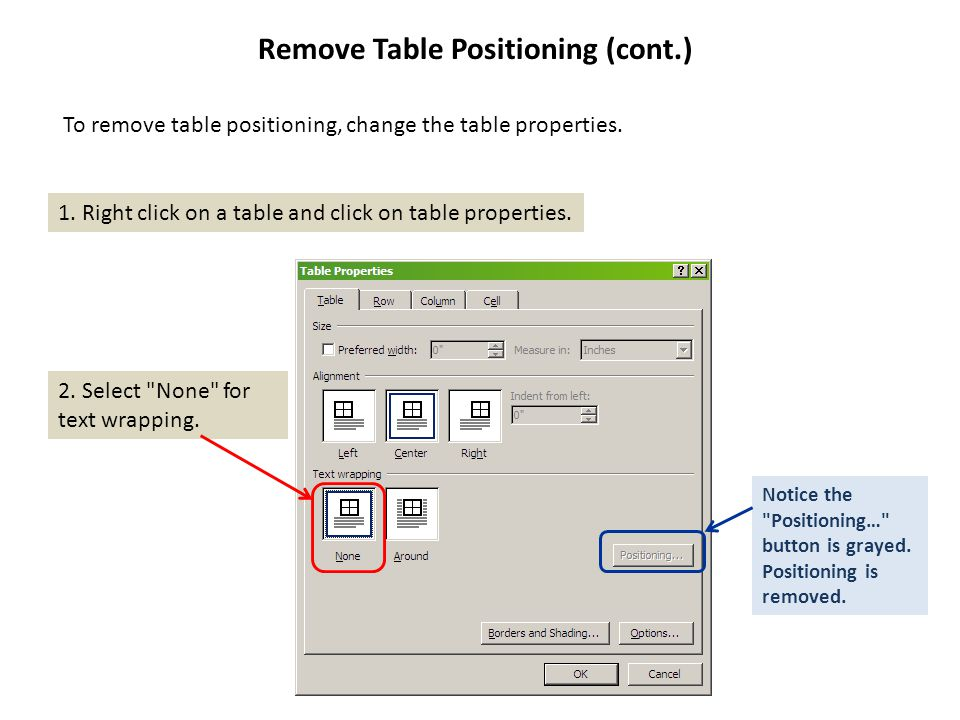 Remove Table Positioning (cont.) 1. Right click on a table and click on table properties.