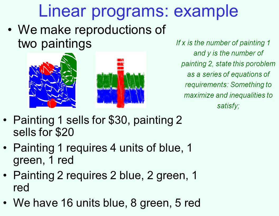 Linear programs: example If x is the number of painting 1 and y is the number of painting 2, state this poroblem as a series of equations of requirements: Something to maximize and inequalities to satisfy; We make reproductions of two paintings Painting 1 sells for $30, painting 2 sells for $20 Painting 1 requires 4 units of blue, 1 green, 1 red Painting 2 requires 2 blue, 2 green, 1 red We have 16 units blue, 8 green, 5 red