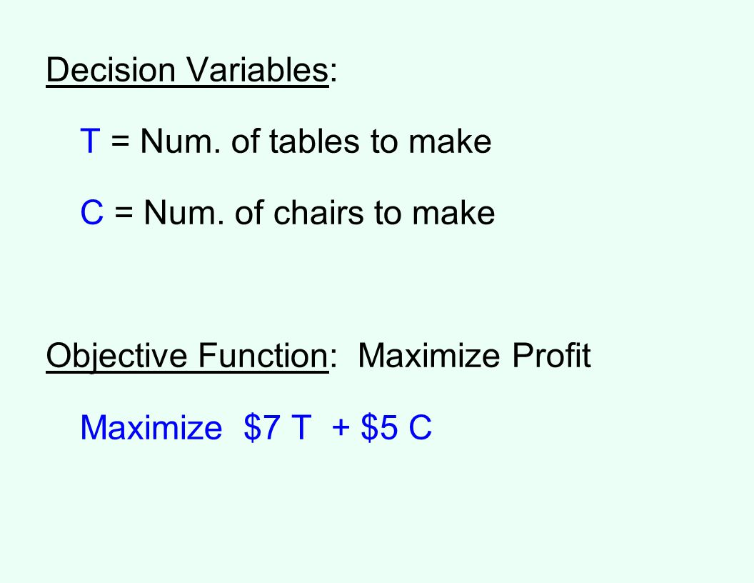 Decision Variables: T = Num.of tables to make C = Num.
