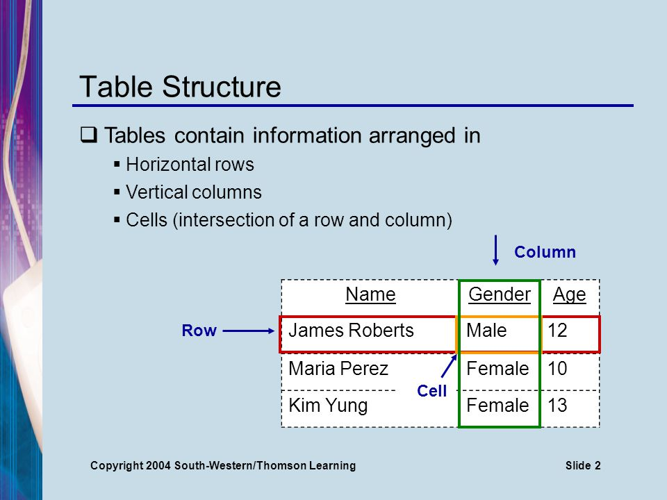 Copyright 2004 South-Western/Thomson LearningSlide 3 Table Grid The Table feature creates a grid for entering information Gridlines may or may not print, depending on your software program NameGenderAge James RobertsMale12 Maria PerezFemale10 Kim YungFemale 13 Gridlines