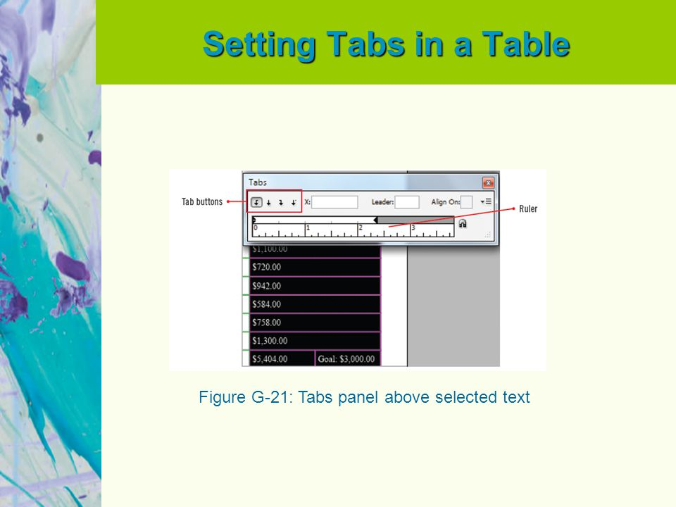Setting Tabs in a Table Figure G-21: Tabs panel above selected text