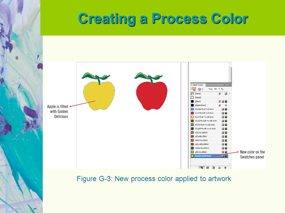 Creating a Process Color Figure G-3: New process color applied to artwork