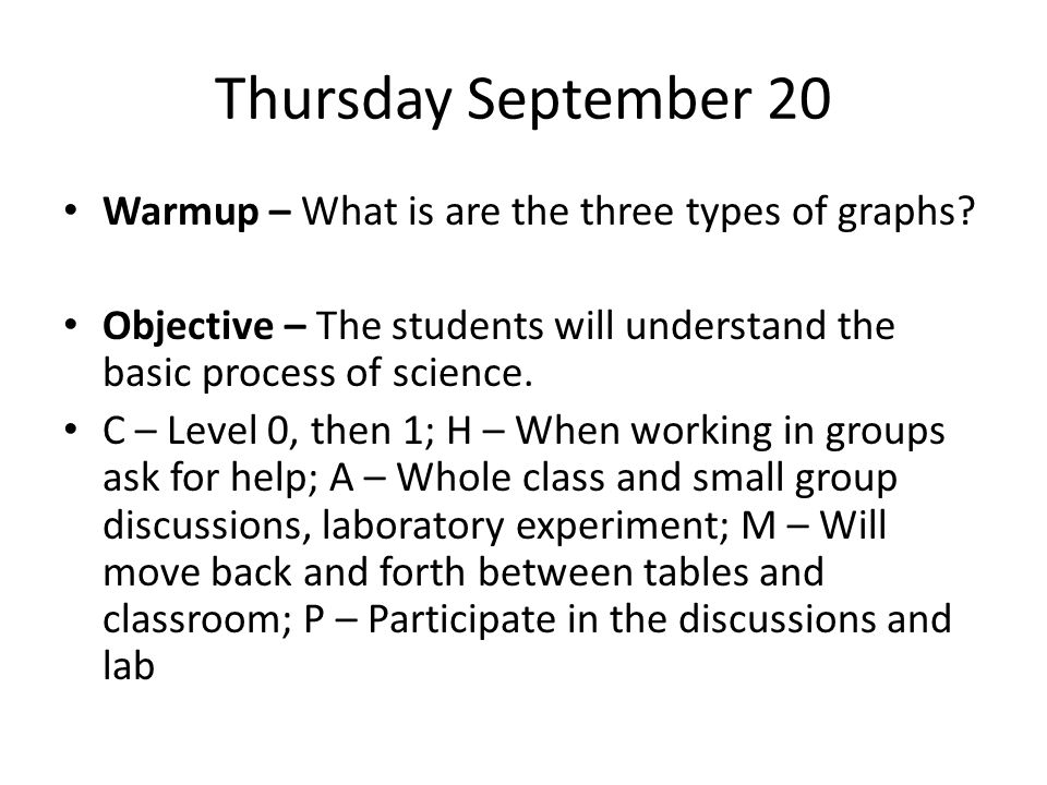 Thursday September 20 Warmup – What is are the three types of graphs? Objective – The students will understand the basic process of science. C – Level