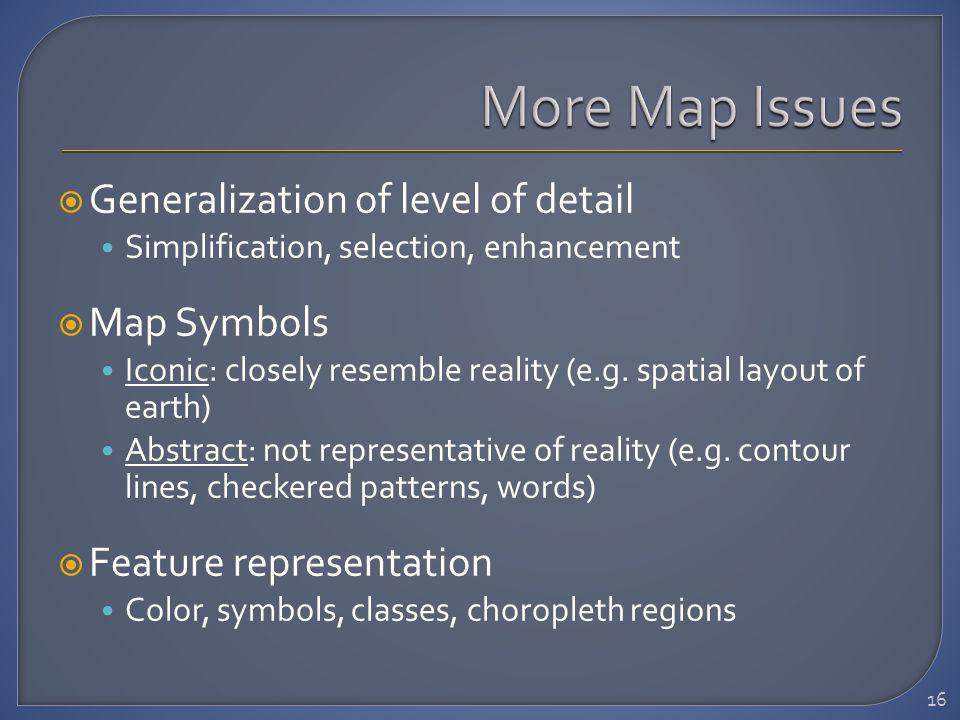 Generalization of level of detail Simplification, selection, enhancement Map Symbols Iconic: closely resemble reality (e.g.