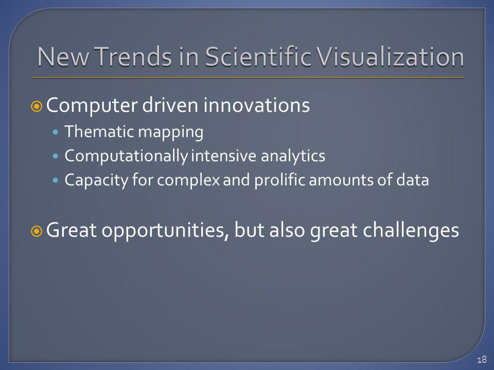 Computer driven innovations Thematic mapping Computationally intensive analytics Capacity for complex and prolific amounts of data Great opportunities, but also great challenges 18