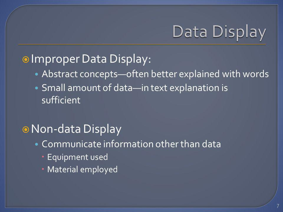 Improper Data Display: Abstract conceptsoften better explained with words Small amount of datain text explanation is sufficient Non-data Display Communicate information other than data Equipment used Material employed 7