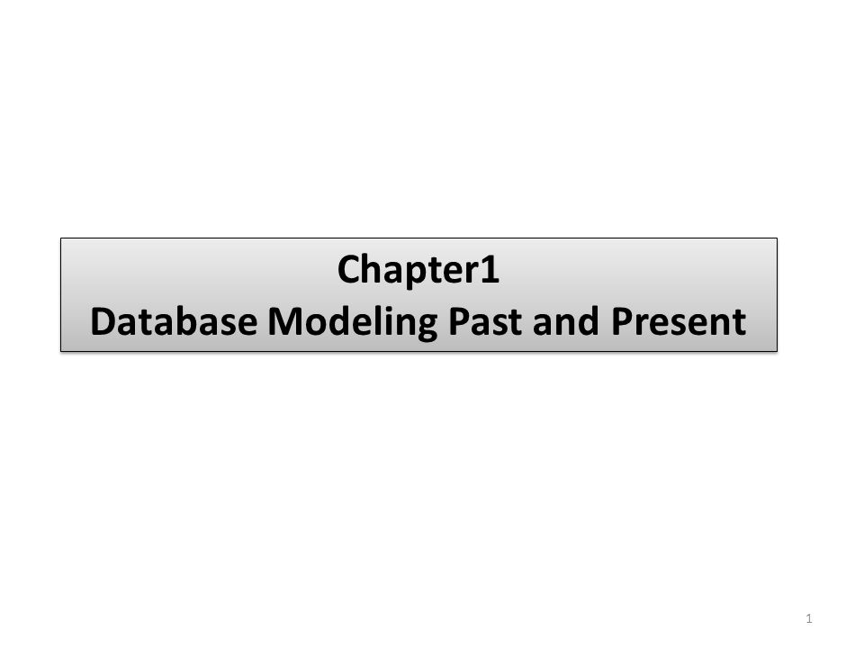 Chapter1 Database Modeling Past and Present Chapter1 Database Modeling Past and Present 1