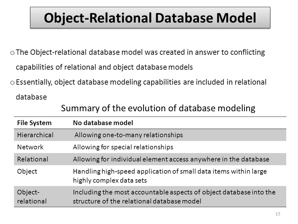 Object-Relational Database Model o The Object-relational database model was created in answer to conflicting capabilities of relational and object dat