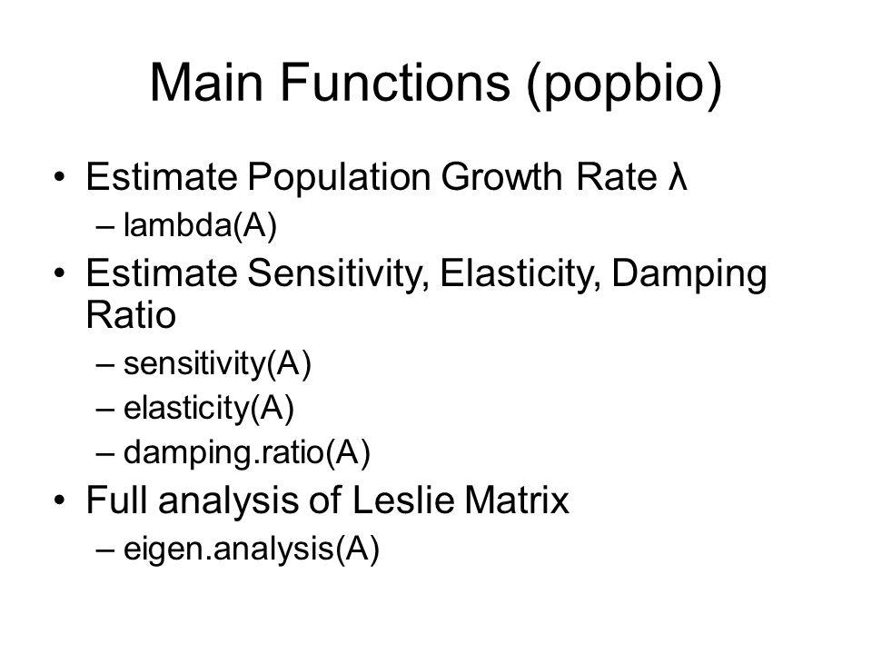 Main Functions (popbio) Estimate Population Growth Rate λ –lambda(A) Estimate Sensitivity, Elasticity, Damping Ratio –sensitivity(A) –elasticity(A) –d