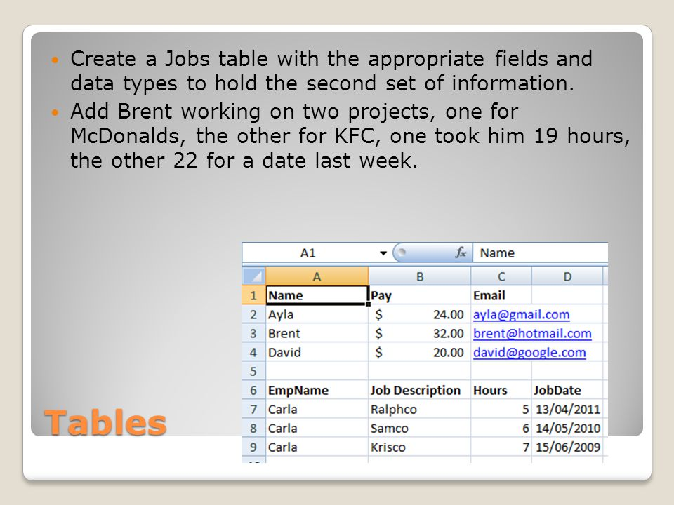Tables Create a Jobs table with the appropriate fields and data types to hold the second set of information. Add Brent working on two projects, one fo