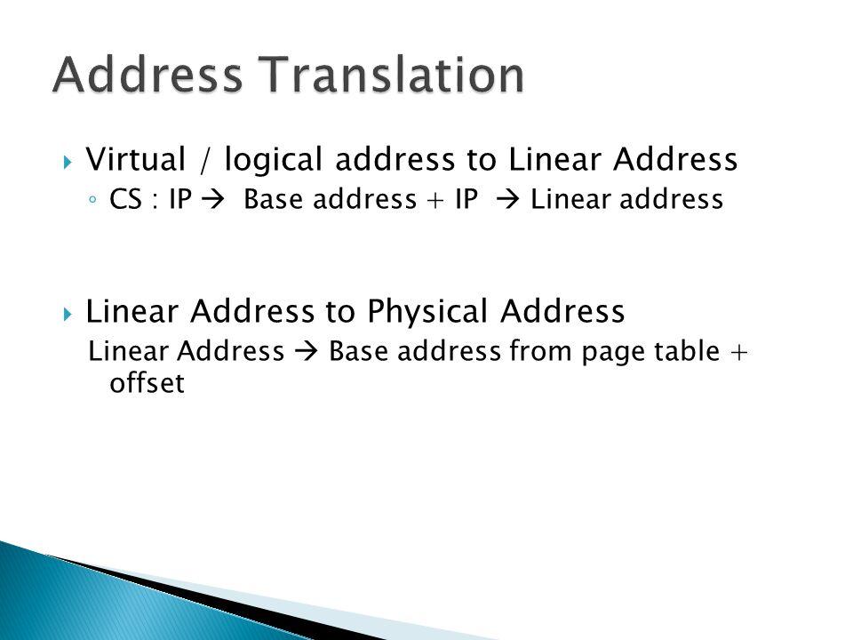 Virtual / logical address to Linear Address CS : IP Base address + IP Linear address Linear Address to Physical Address Linear Address Base address fr