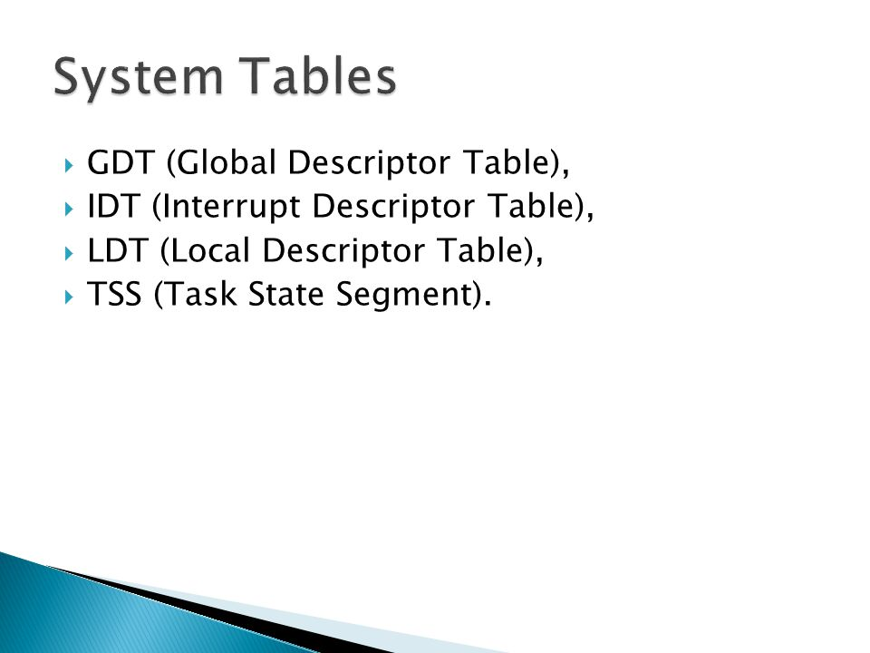 GDT (Global Descriptor Table), IDT (Interrupt Descriptor Table), LDT (Local Descriptor Table), TSS (Task State Segment).