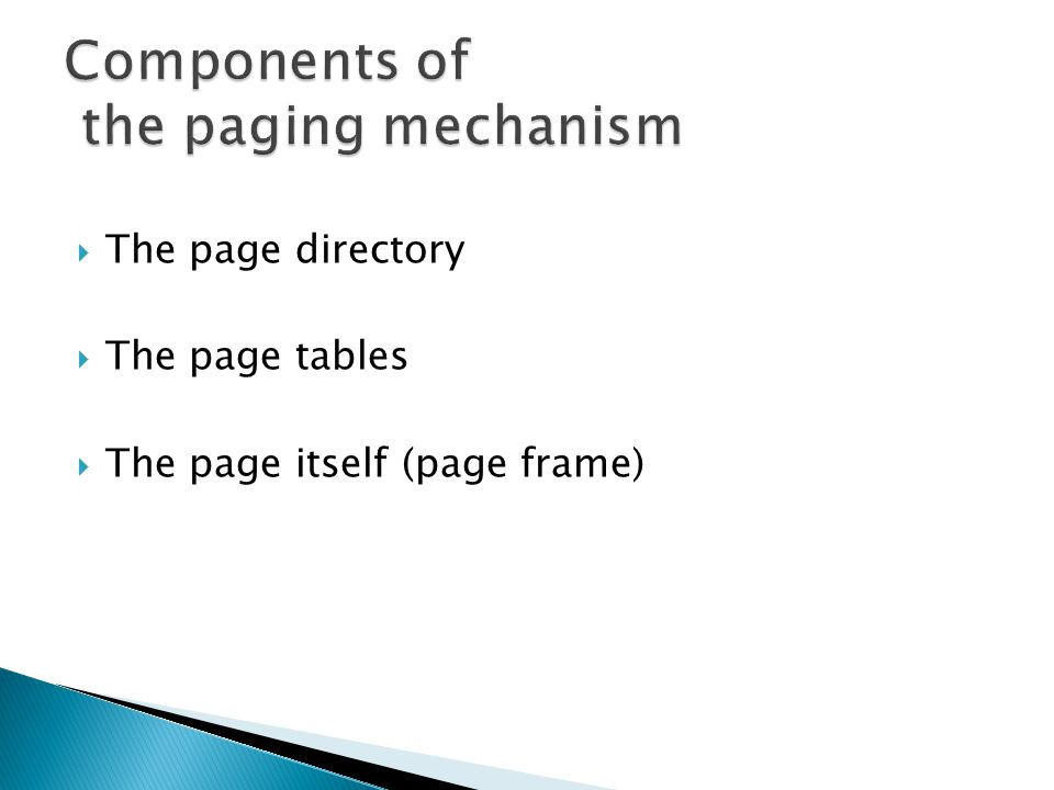 The page directory The page tables The page itself (page frame)