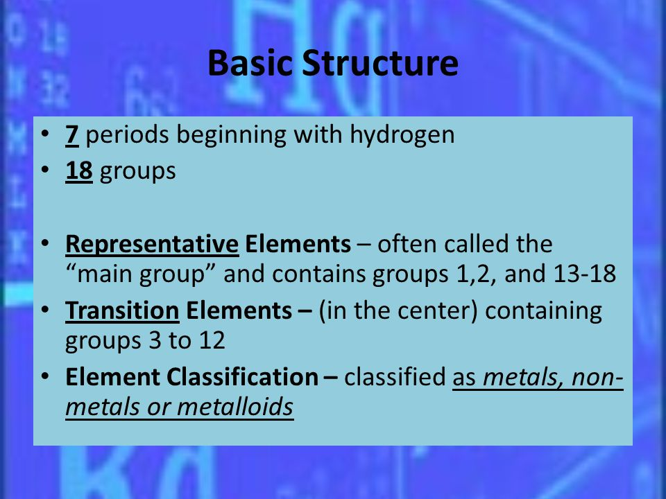 Basic Structure 7 periods beginning with hydrogen 18 groups Representative Elements – often called the main group and contains groups 1,2, and 13-18 T