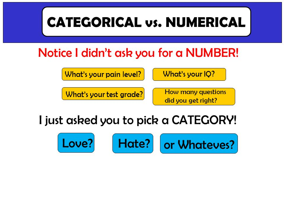 Point out difference between categorical vs. numerical data. Notice I didnt ask you for a NUMBER! CATEGORICAL vs. NUMERICAL I just asked you to pick a