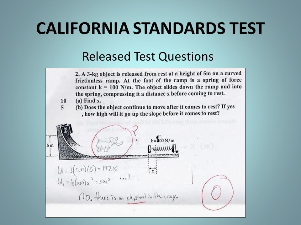 CALIFORNIA STANDARDS TEST Released Test Questions