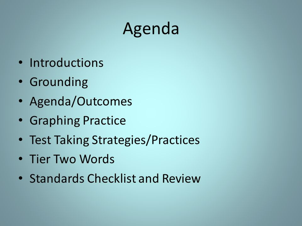 Outcome Participants will gain strategies to use with students in preparation for standardized testing.