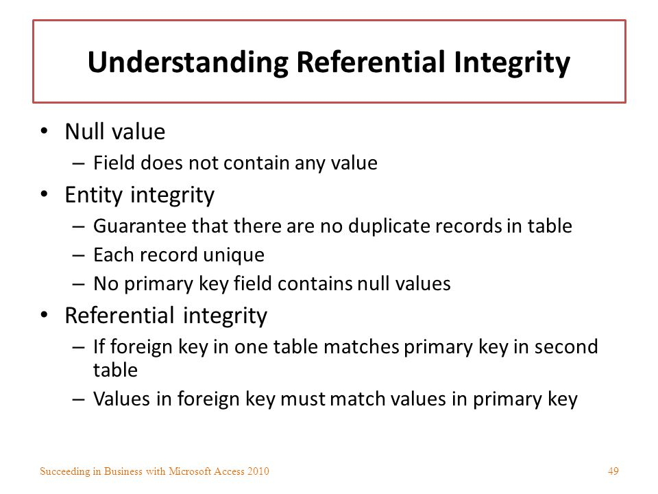 Understanding Referential Integrity Null value – Field does not contain any value Entity integrity – Guarantee that there are no duplicate records in