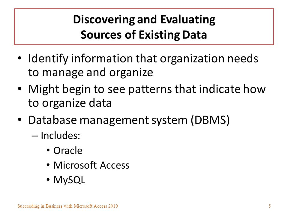Discovering and Evaluating Sources of Existing Data (contd) Data duplication – Undesirable Additional space required in database to store extra records Leads to inconsistent and inaccurate data Data redundancy – Same data repeated for different records Succeeding in Business with Microsoft Access 20106