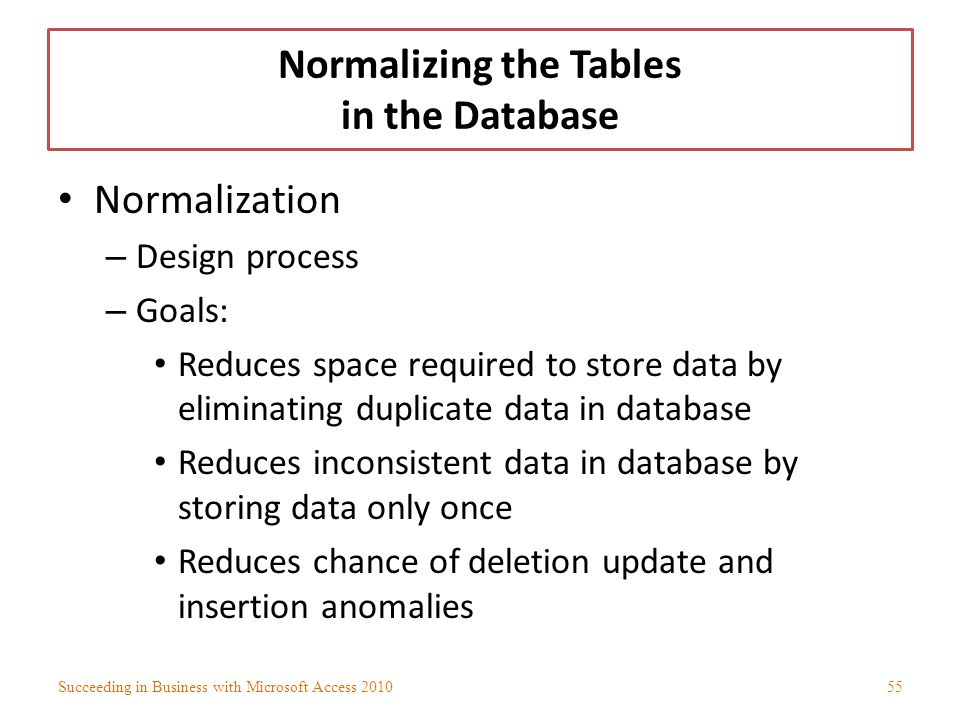 Normalizing the Tables in the Database Normalization – Design process – Goals: Reduces space required to store data by eliminating duplicate data in d