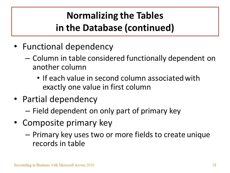Normalizing the Tables in the Database (continued) Functional dependency – Column in table considered functionally dependent on another column If each
