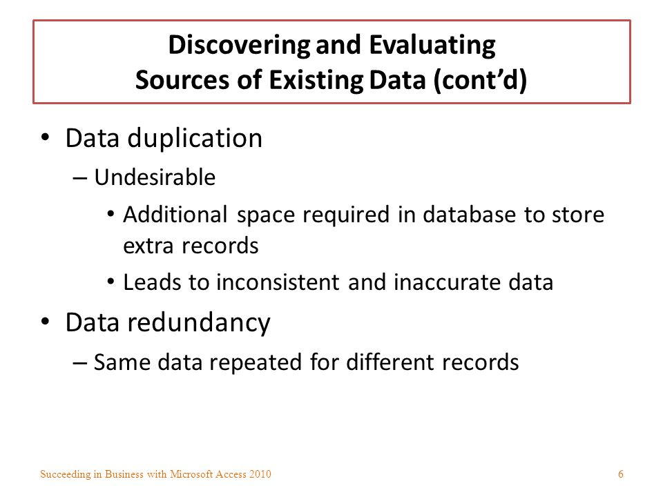 Discovering and Evaluating Sources of Existing Data (contd) Data duplication – Undesirable Additional space required in database to store extra record