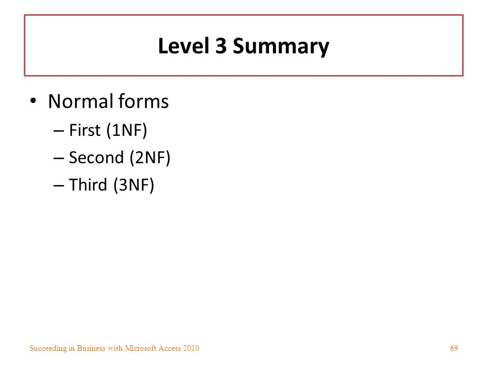 Level 3 Summary Normal forms – First (1NF) – Second (2NF) – Third (3NF) Succeeding in Business with Microsoft Access 201069