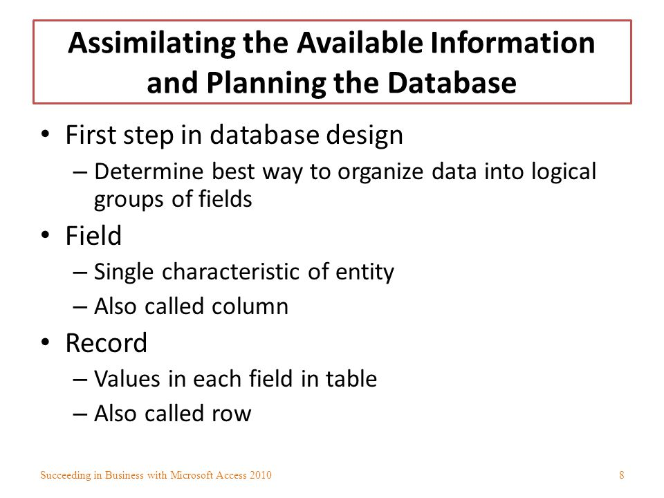 Normalizing the Tables in the Database (continued) Determinant – Field or collection of fields whose value determines value in another field – Inverse of dependency Natural key – Primary key that details obvious and innate trait of record Artificial key – Field whose sole purpose is to create primary key – Usually visible to users Succeeding in Business with Microsoft Access 201059