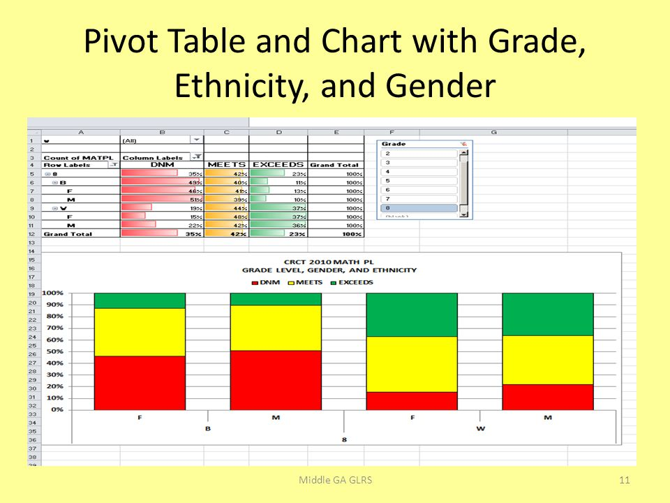 Pivot Table and Chart with Grade, Ethnicity, and Gender Middle GA GLRS11