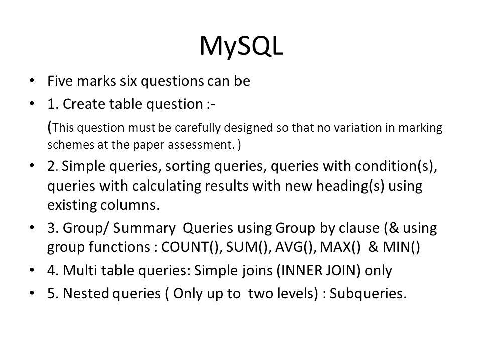 MySQL Marking scheme of MySQL in Question Paper:- Q 2.