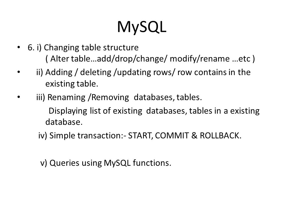 MySQL Five marks six questions can be 1. Create table question :- ( This question must be carefully designed so that no variation in marking schemes a
