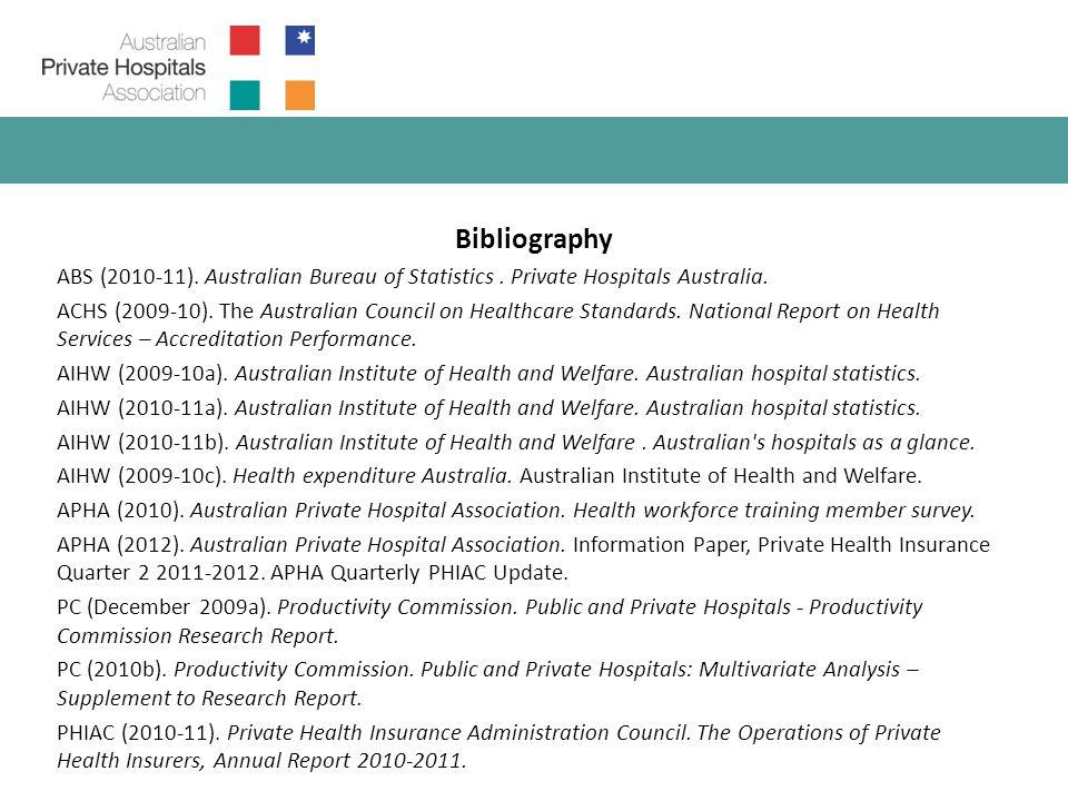 Bibliography ABS (2010-11). Australian Bureau of Statistics.