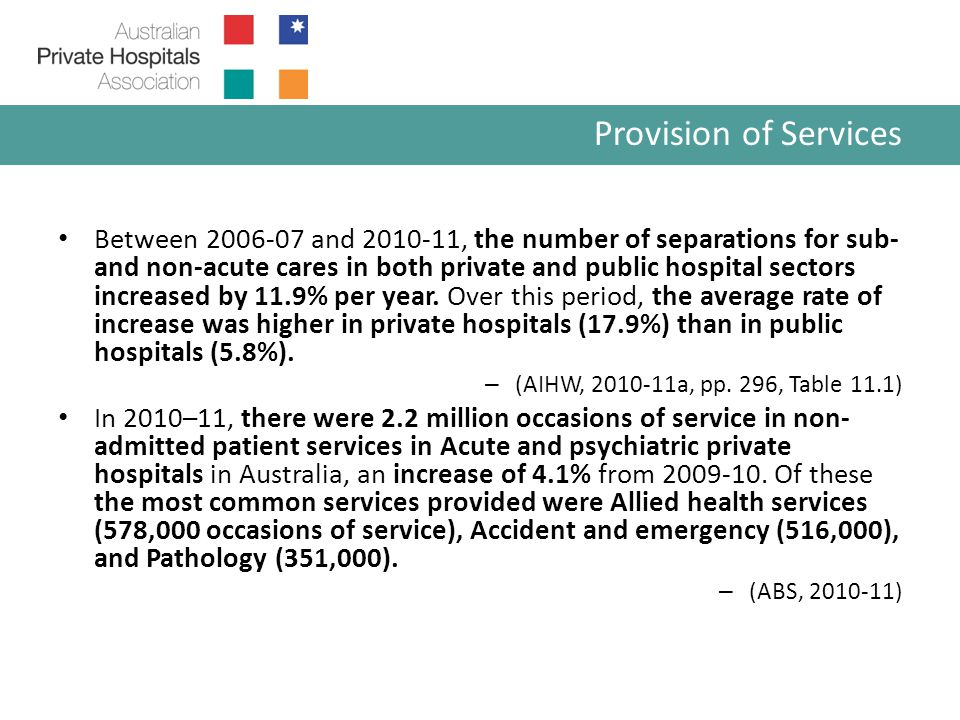 In 2010-11, a total of 3.4 million patients age 65 + were admitted to both public and private hospital.