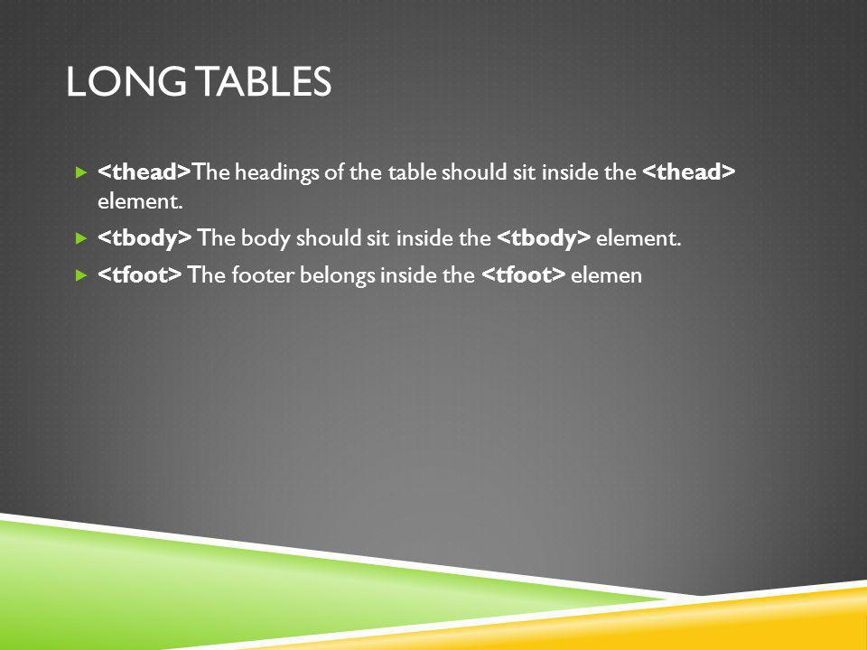 LONG TABLES The headings of the table should sit inside the element.