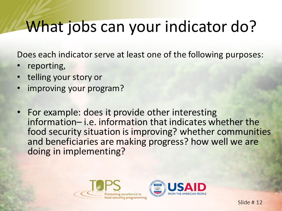 Slide # 12 What jobs can your indicator do? Does each indicator serve at least one of the following purposes: reporting, telling your story or improvi