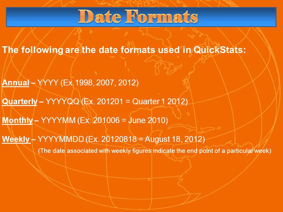 The following are the date formats used in QuickStats: Annual – YYYY (Ex.1998, 2007, 2012) Quarterly – YYYYQQ (Ex.