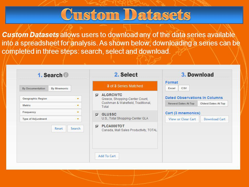 Custom Datasets allows users to download any of the data series available into a spreadsheet for analysis.