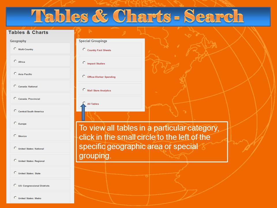 To view all tables in a particular category, click in the small circle to the left of the specific geographic area or special grouping.
