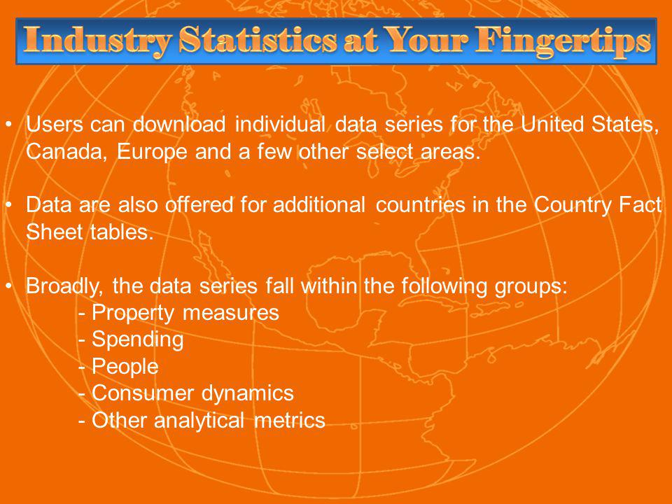 Users can download individual data series for the United States, Canada, Europe and a few other select areas.