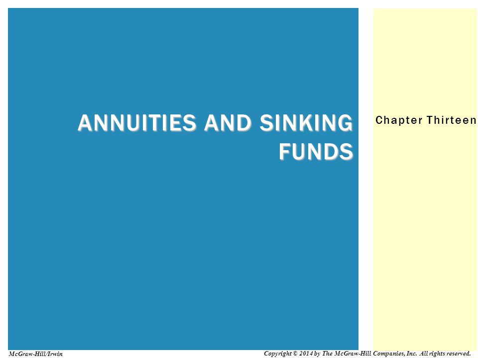 13-22 SINKING FUNDS (FIND PERIODIC PAYMENTS) Sinking fund = Future x Sinking fund payment value table factor Sinking fund – financial arrangement that sets aside regular periodic payments of a particular amount of money
