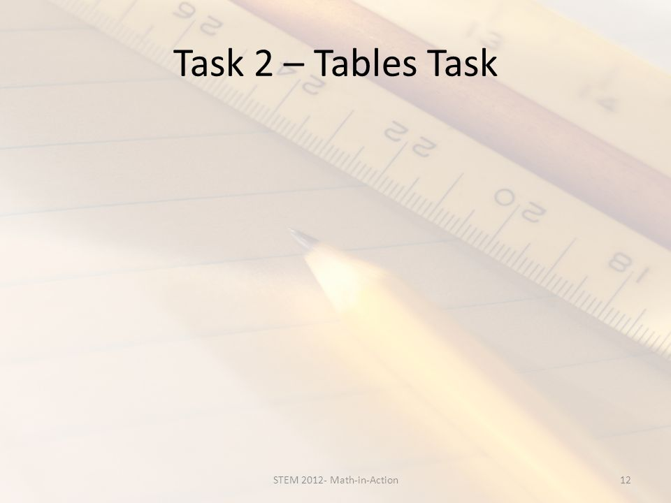 Task 2 – Tables Task 12STEM 2012- Math-in-Action