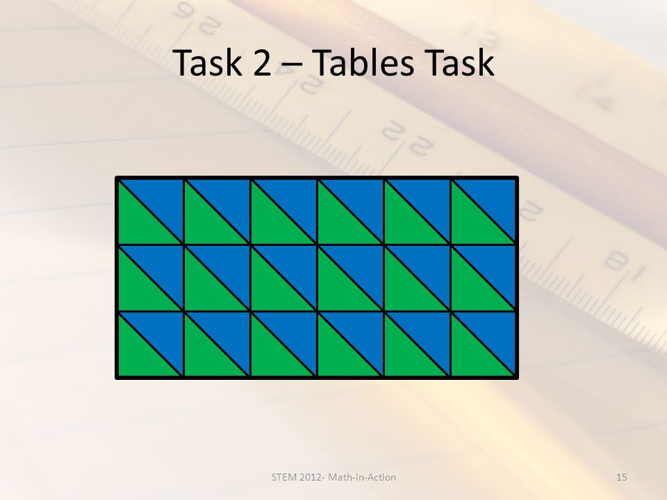 Task 2 – Tables Task 15STEM 2012- Math-in-Action