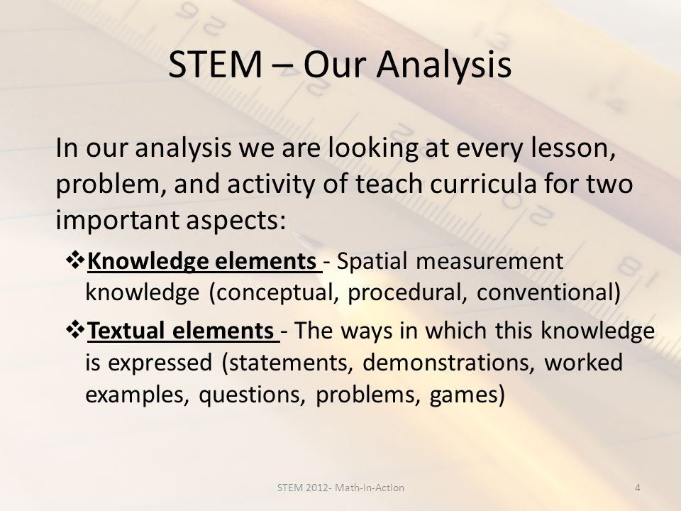 STEM – Our Analysis In our analysis we are looking at every lesson, problem, and activity of teach curricula for two important aspects: Knowledge elements - Spatial measurement knowledge (conceptual, procedural, conventional) Textual elements - The ways in which this knowledge is expressed (statements, demonstrations, worked examples, questions, problems, games) 4STEM 2012- Math-in-Action