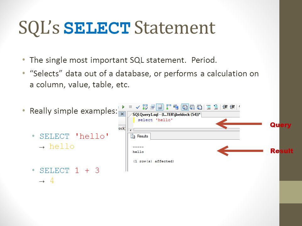 SQLs SELECT Statement The single most important SQL statement. Period. Selects data out of a database, or performs a calculation on a column, value, t