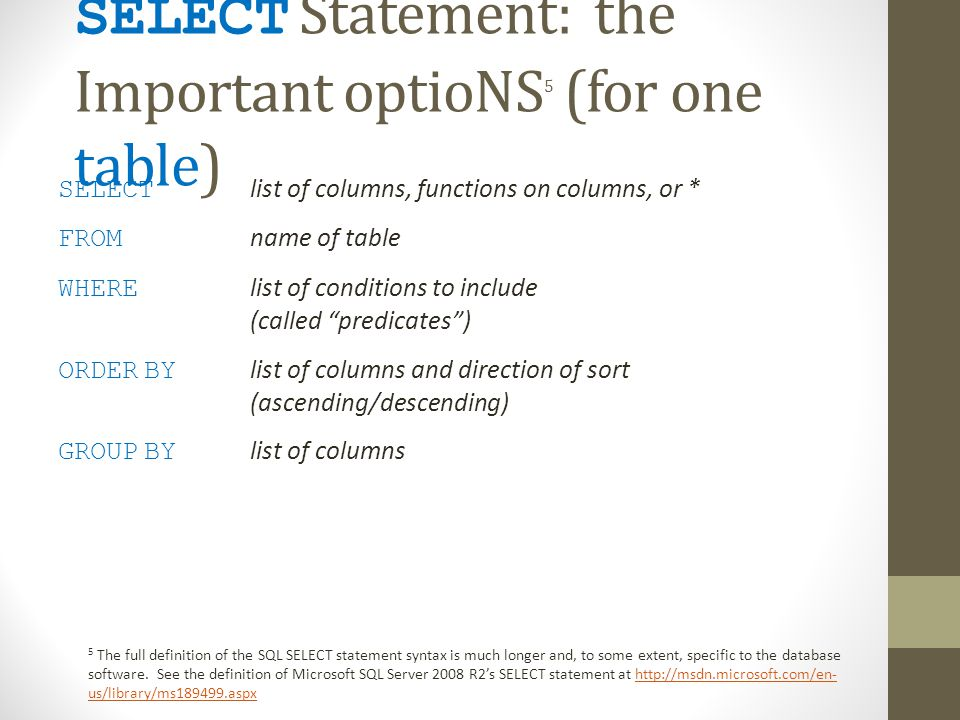 SELECT Statement: the Important optioNS 5 (for one table) SELECT list of columns, functions on columns, or * FROM name of table WHERE list of conditions to include (called predicates) ORDER BY list of columns and direction of sort (ascending/descending) GROUP BY list of columns 5 The full definition of the SQL SELECT statement syntax is much longer and, to some extent, specific to the database software.