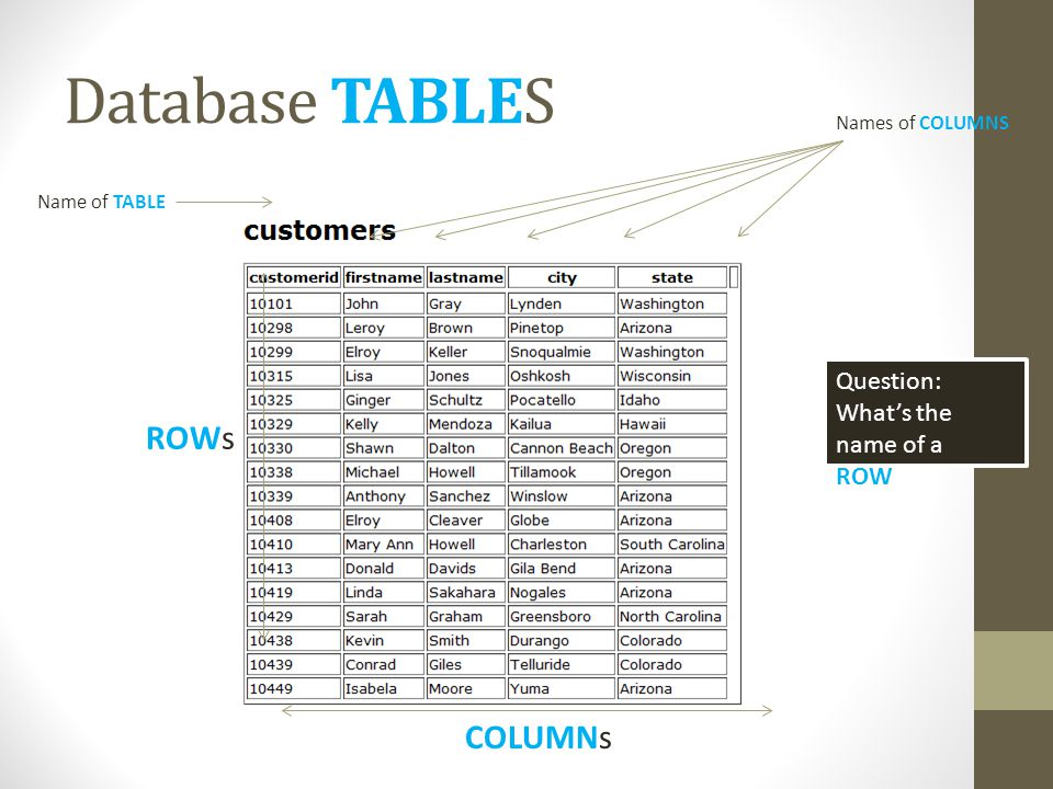 Database TABLES Name of TABLE ROWs COLUMNs Names of COLUMNS Question: Whats the name of a ROW?