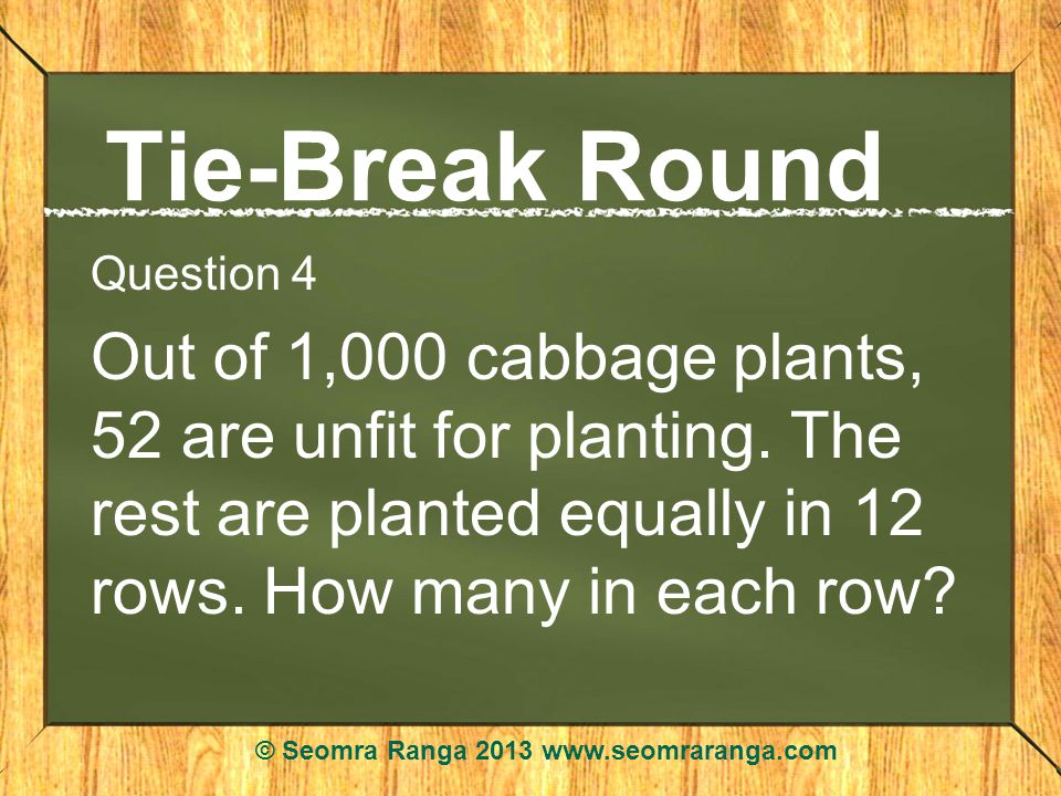 Tie-Break Round Question 4 Out of 1,000 cabbage plants, 52 are unfit for planting.