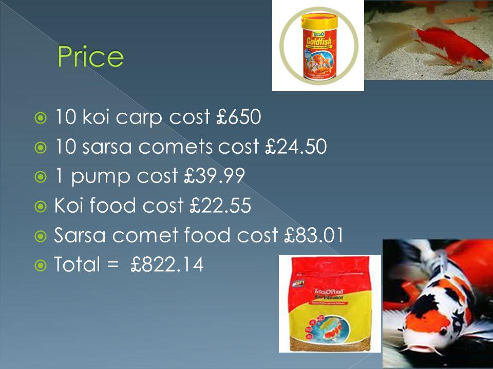 10 koi carp cost £650 10 sarsa comets cost £24.50 1 pump cost £39.99 Koi food cost £22.55 Sarsa comet food cost £83.01 Total = £822.14