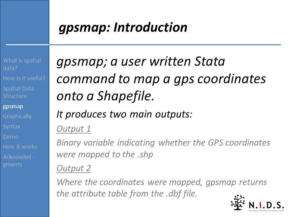 What is spatial data? How is it useful? Spatial Data Structure gpsmap Graphically Syntax Demo How it works Acknowled - gments gpsmap: Introduction gps