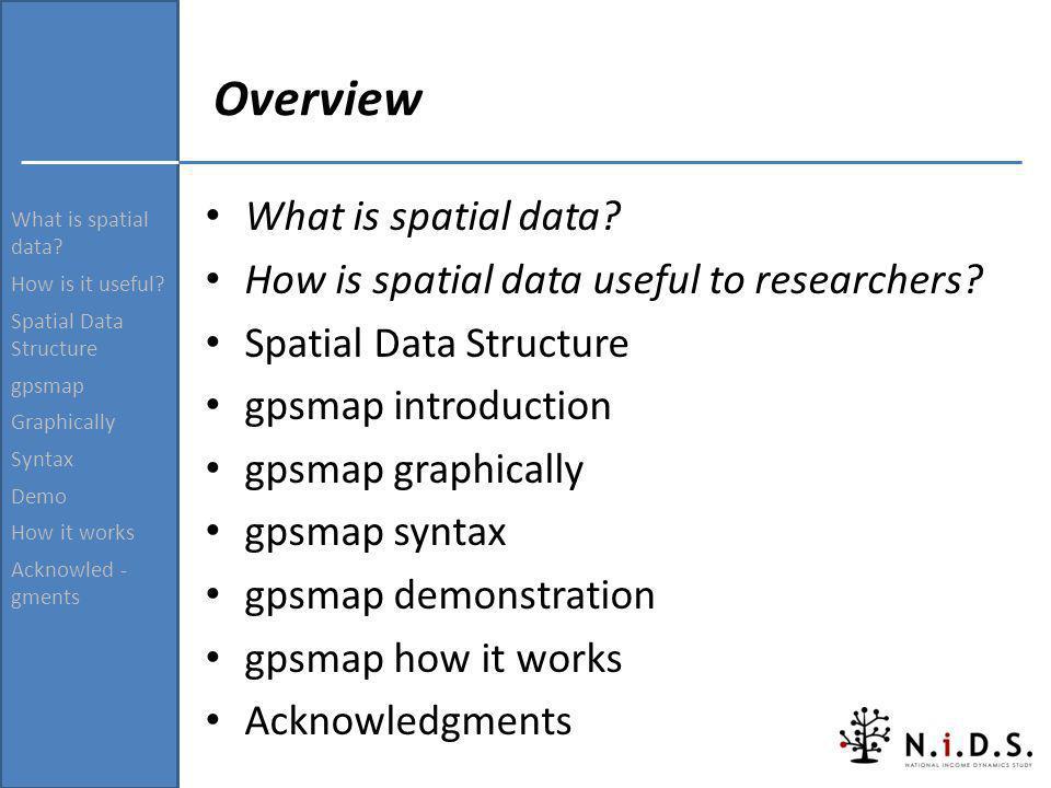 Overview What is spatial data? How is spatial data useful to researchers? Spatial Data Structure gpsmap introduction gpsmap graphically gpsmap syntax